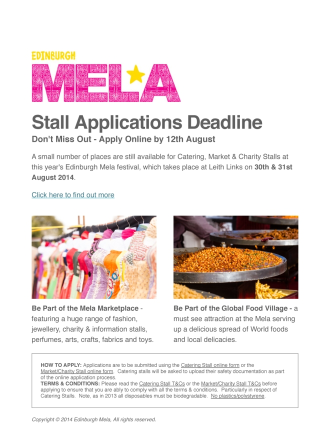 Be part of the 20th Edinburgh Mela