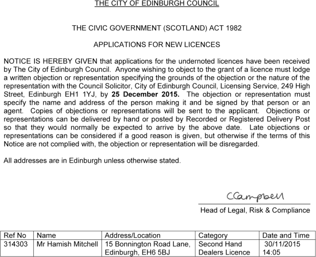 New Civic Licence Notice 314303