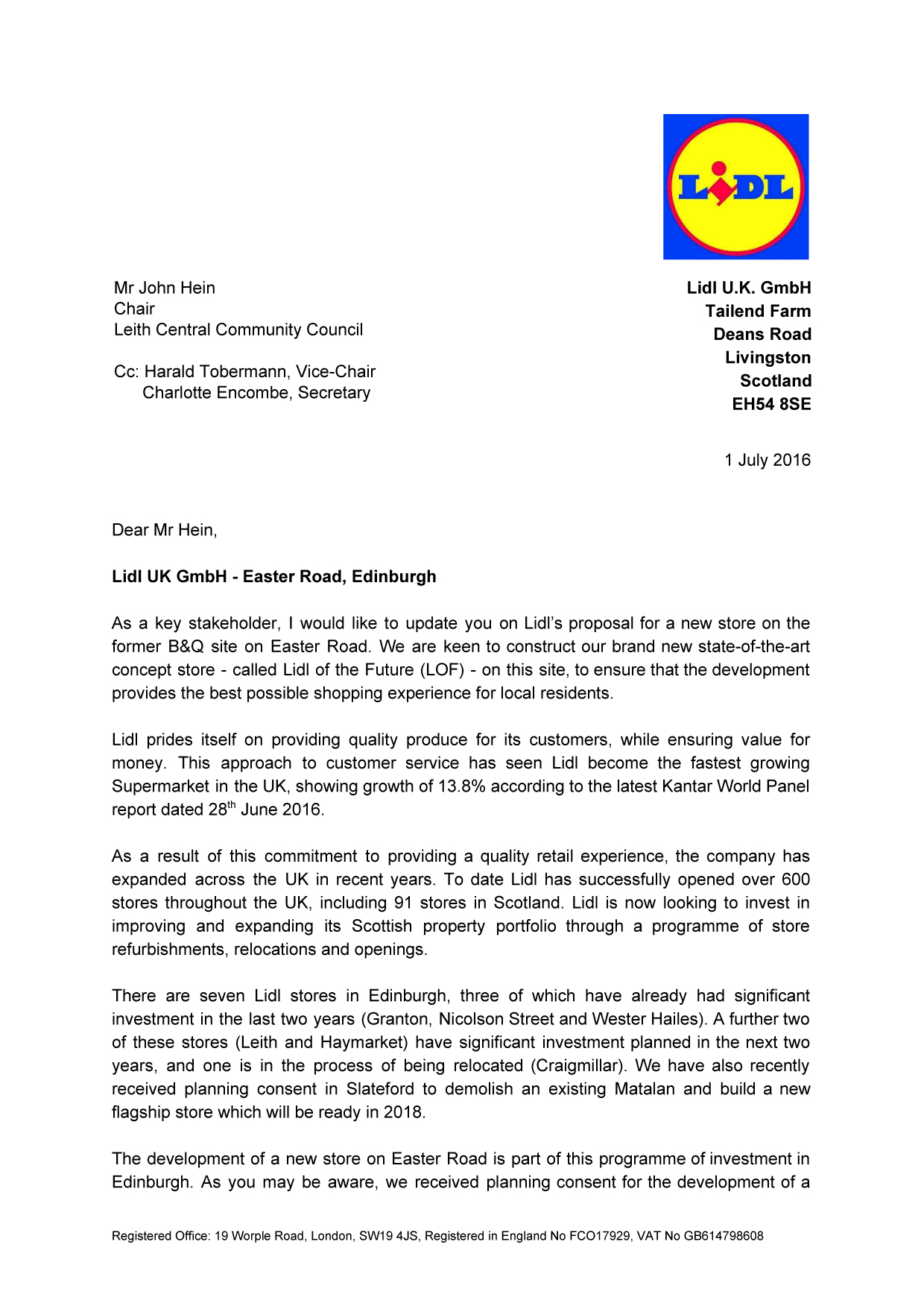 Proposed Lidl Store Easter Road Latest Update Leith Central