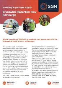SGN Customer Leaflet Brunswick Place Elm Row Edinburgh 160624