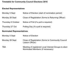 Timetable for Community Council Elections 2001