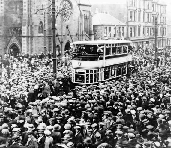 photo of 'First day of operation for through electric trams between Leith and Edinburgh'