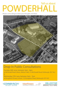 poster advertising drop-in consultations about Powderhall