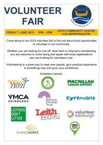 poster advertising Volunteer Fair on 7 June 2019