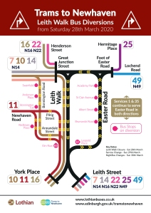 map of bus diversions on Leith Walk, starting 28 March 2020