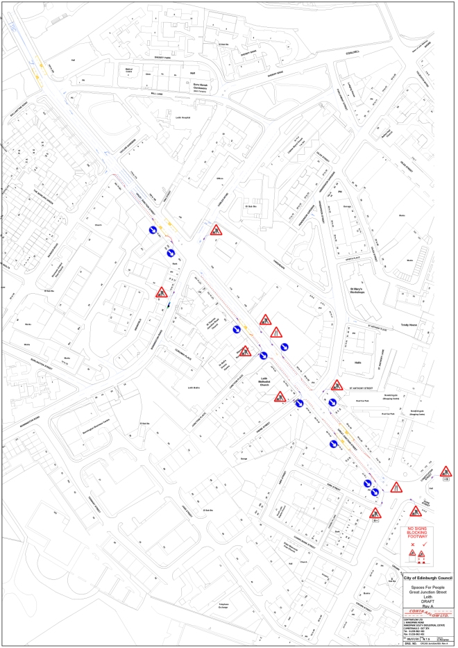 map of proposals for Great Junction St and Easter Rd