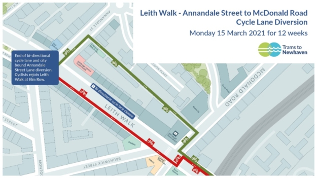 cycle-lane diversion on Leith Walk between Annandale St and McDonald Rd (from Monday 15 March 2021 for 12 weeks). This appears to go along Annandale St Lane.