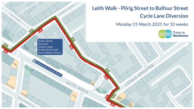 cycle-lane diversion on Leith Walk between Pilrig St and Balfour Rd (from Monday 15 March 2021 for 10 weeks). This appears to go along Arthur St.